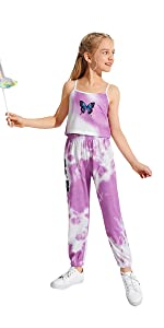 Romwe Gril's 2 Piece Sweatpant Outfit Tie Dye Cami Crop Top and Jogger Pants Set