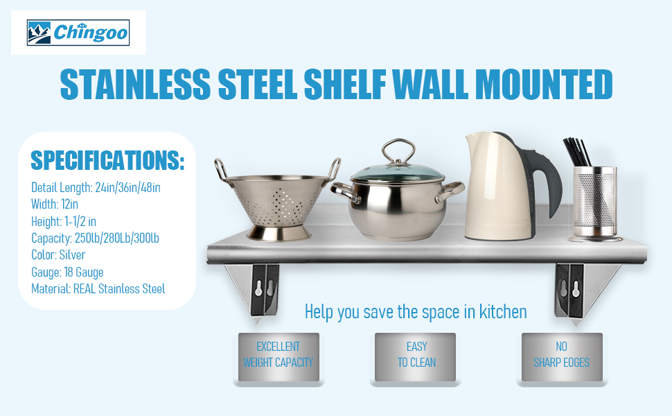 Stainless Steel Shelf Wall Mounted