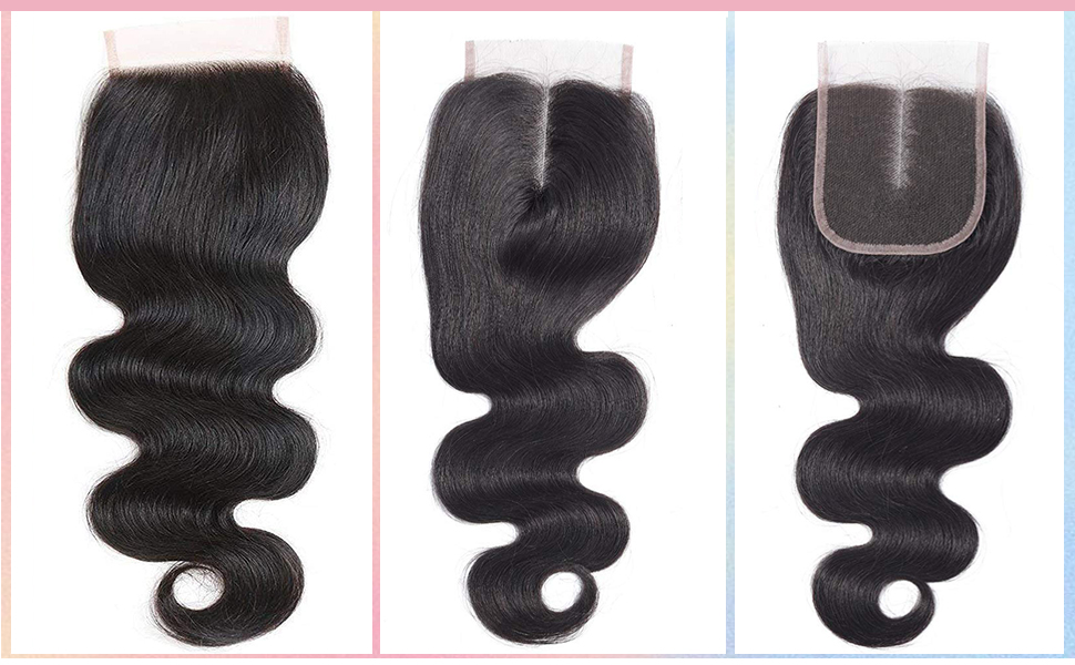 Brazilian Virgin Human Hair Body Wave Closure 4X4 Lace Closure Free Part Swiss Lace closures