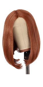 copper red bob wig