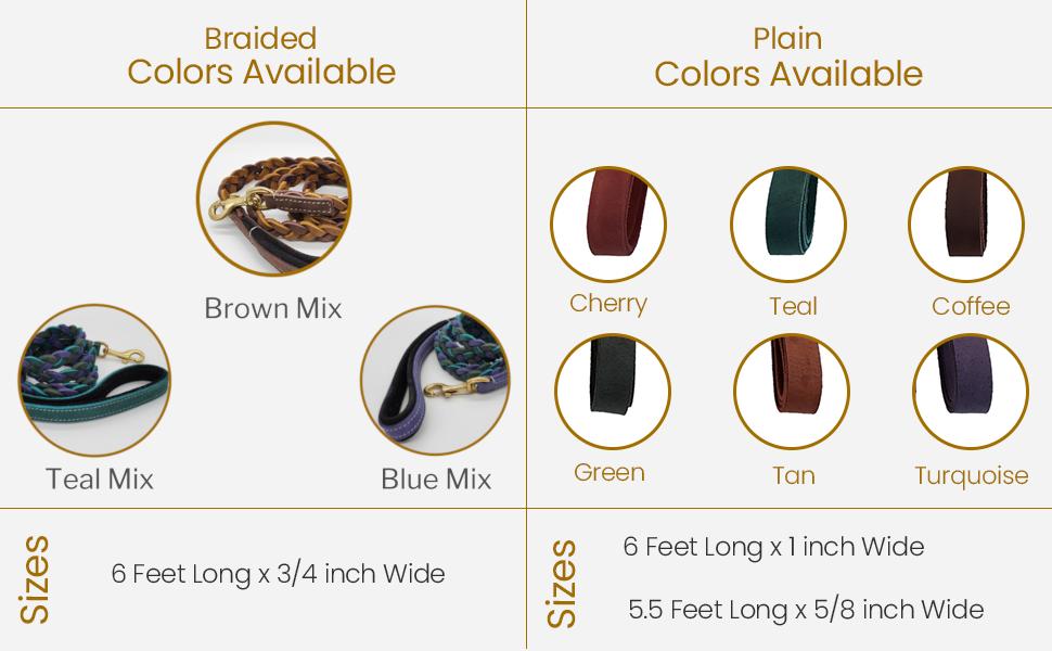 vibrania braided leash colors sizes