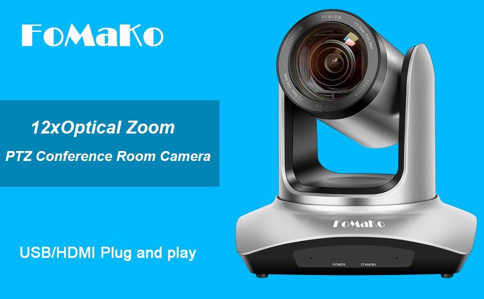 FoMaKo 12xOptical Zoom Conference USB HDMI PTZ Camera