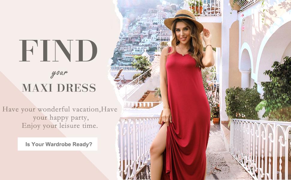 Women's Sleeveless Racerback Loose Plain Prints Maxi Dresses Side Split Casual Long Dresses