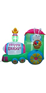 Inflatable Easter Train with Bunny Basket Colorful Eggs