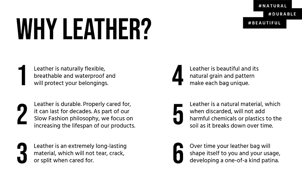Why Leather? Beautiful, durable, natural. 6 important qualities of this natural material