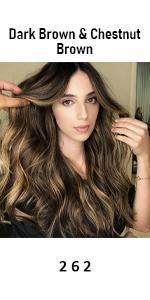 human hair extensions dark brown with chestnut brown
