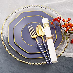 purple and gold plastic plates