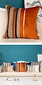 Burnt orange patchwork pillow cover