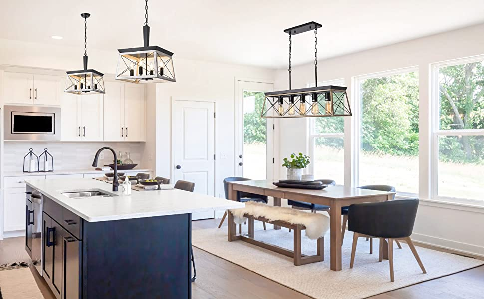 briarwood collection light fixture over kitchen island, in dining room, modern farmhouse chandelier