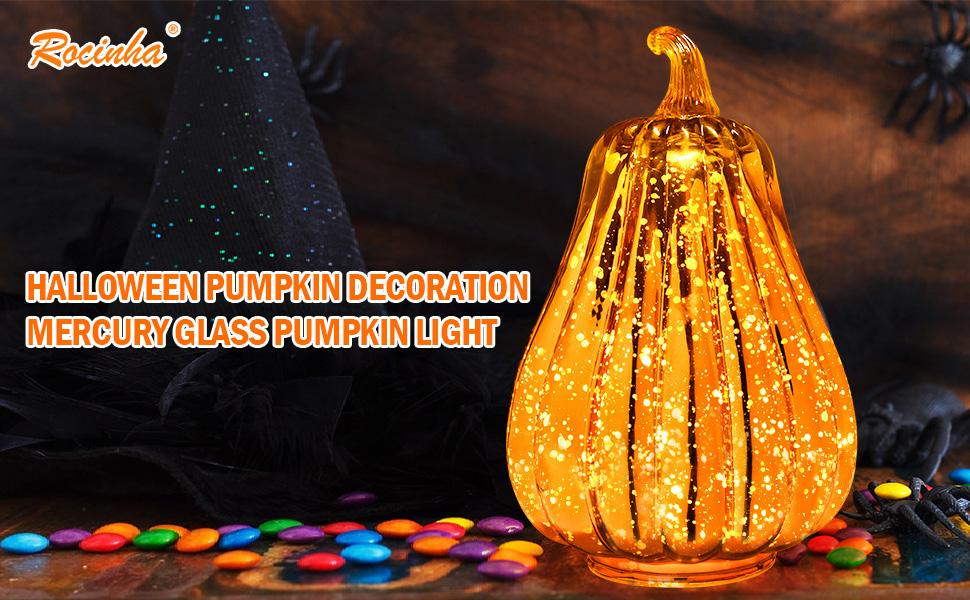 mercury glass pumpkins decorations with lights