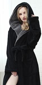 KEMUSI Hood Womens Black Full Length Bathrobe