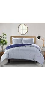4-Grey and Navy Reversible microfiber 3-Piece comforter