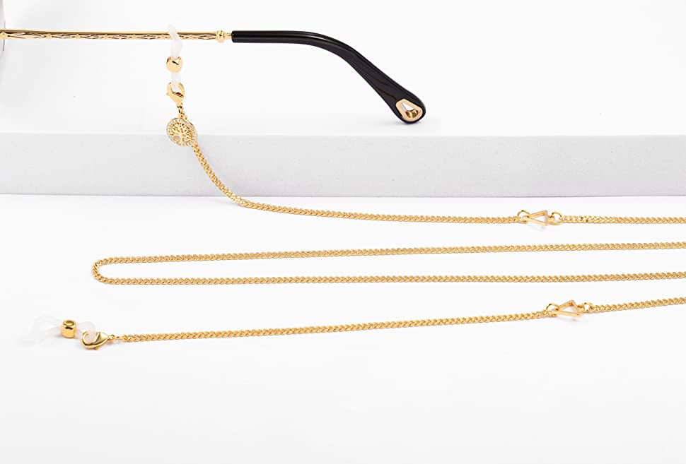 gold plated glasses chain