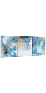 Blue amp; Gold Abstract Canvas Wall Art