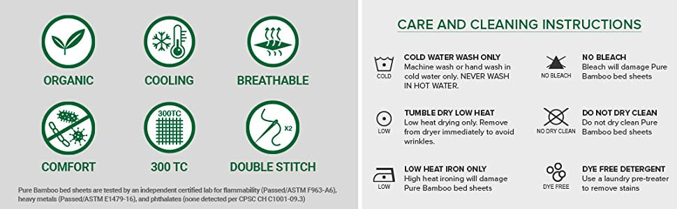 Pure Bamboo Sheets cleaning and care instructions