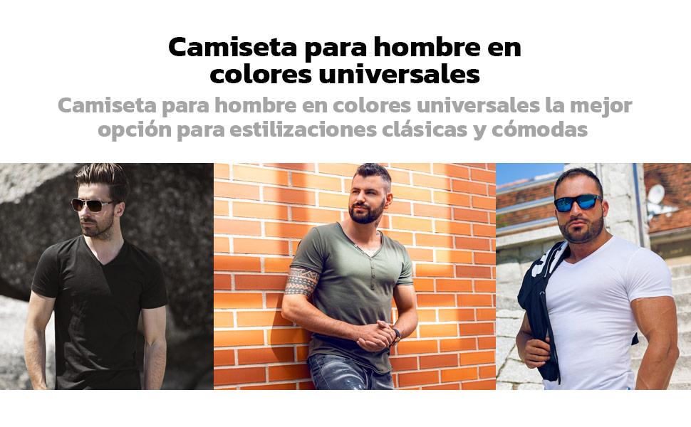 BOLF Hombre Camiseta de Manga Corta Básica Camiseta de Algodón Escote de Pico Estilo Diario 3C3