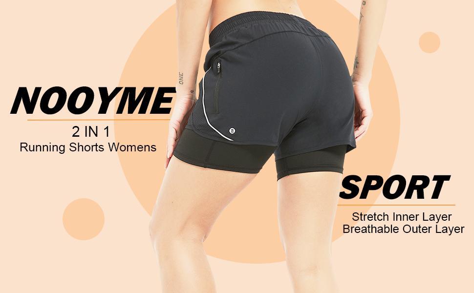 sports shorts womens, running shorts womens, 2 in 1 design shorts women
