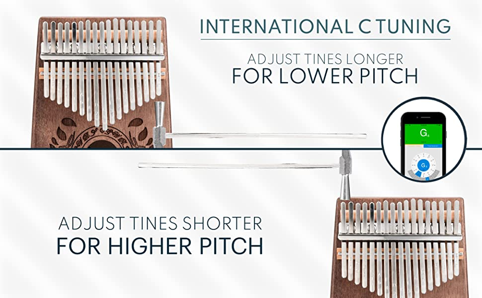 NTERNATIONAL C TUNING Adjust tines longer for lower pitch