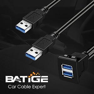 BATIGE - 2 PORTS DUAL SQUARE USB 3.0 CAR MOUNT FLUSH CABLE detail