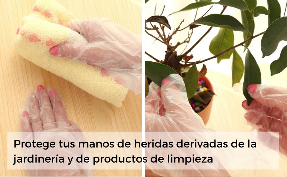 guantes, plástico, transparentes, frutería, vegetales, cocina, limpieza, desechables, jardinería