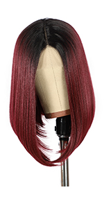 Ombre burgundy bob wigs