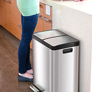 Kitchen trash can and recycle bin