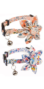 2 Pack Flower Cat Collars (Pink and Blue)