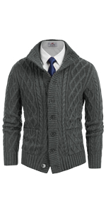 mens twisted cable knit cardigan stand collar thick thermal warm sweater with buttons and pockets