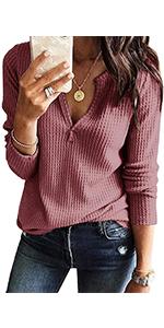 long sleeve waffle shirts for women