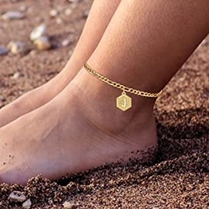 14K Gold Plated Figaro Chain Letter Alphabet Layered Anklet Bracelets for Teen Girls Foot Jewelry