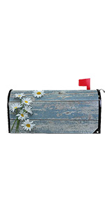 Rustic Daisy Blue Wooden Magnetic Mailbox Cover