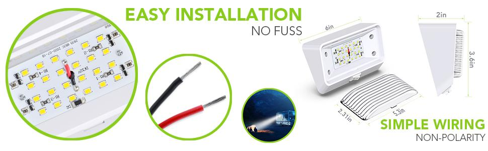 Easy Installation Simple Wiring Porch Outdoor 12 Inch Lumen 650 LED 10-30 Volts light Camper