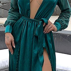 High split prom dress with belt