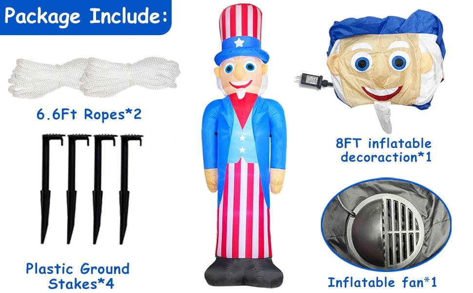 8 Foot Giant Inflatables Uncle Sam 4th of July Decorations Outdoor