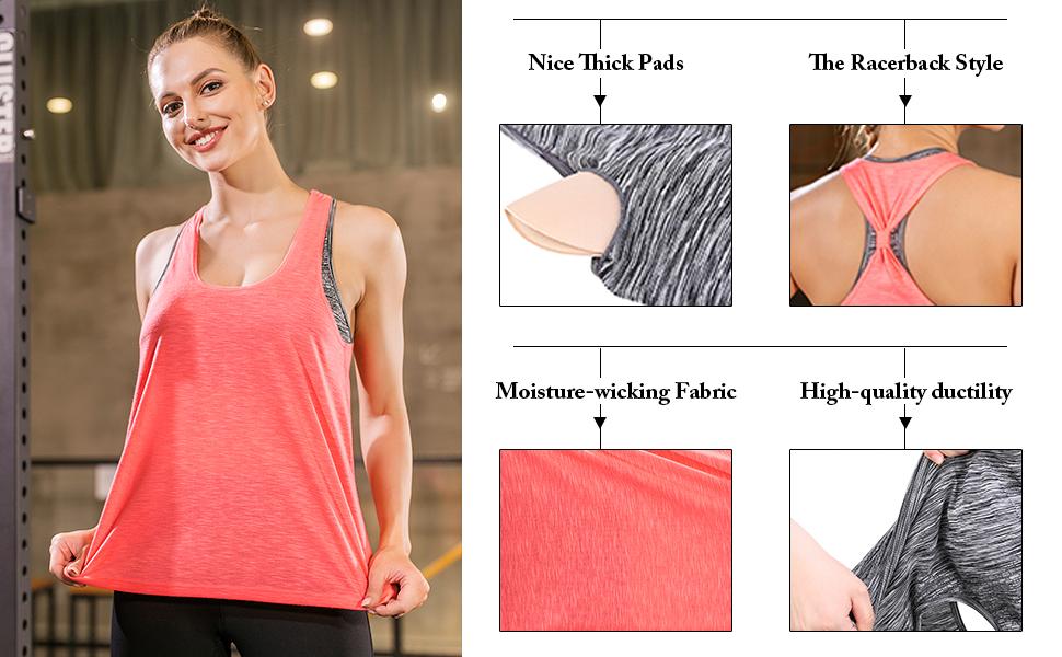 Yoga Tank Tops for Women Sleeveless Workout Tank Tops Mesh Back Tops Racerback Muscle Tank Tops
