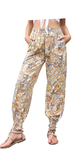 Kate Kasin Women Summer Boho Harem Pants Print Loose Yoga Beach Hippie Pants