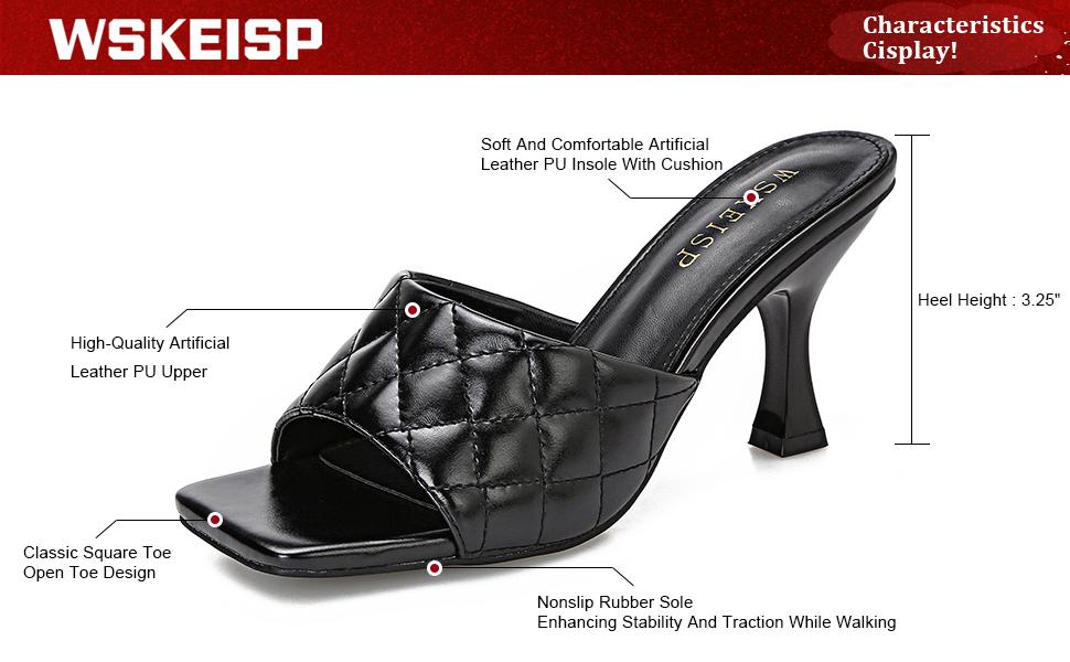 Women's Heels Mules Slip On Square Open Toe Sandals Dress Backless Stiletto High Heel Slippers