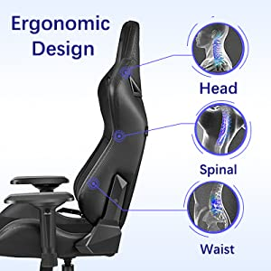office chair with winged back body-hugging design for curvature well-padded seat