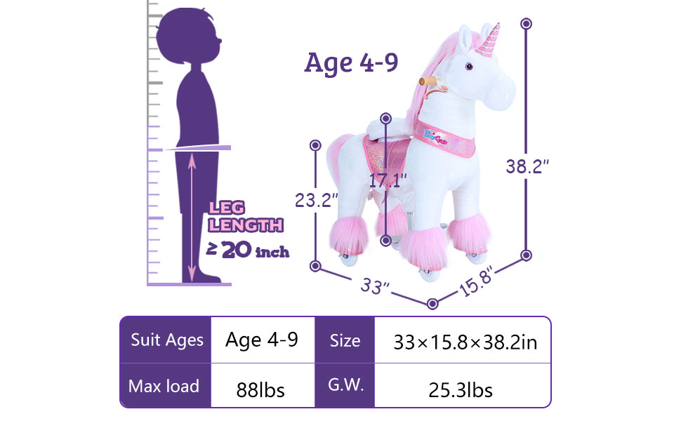 Pony Cycle horse toy ride on unicorn medium pink
