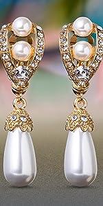 Simulated Pearl Teardrop Rhinestone Clip On Earrings Bridal Jewelry Yellow Fancy Royal Style