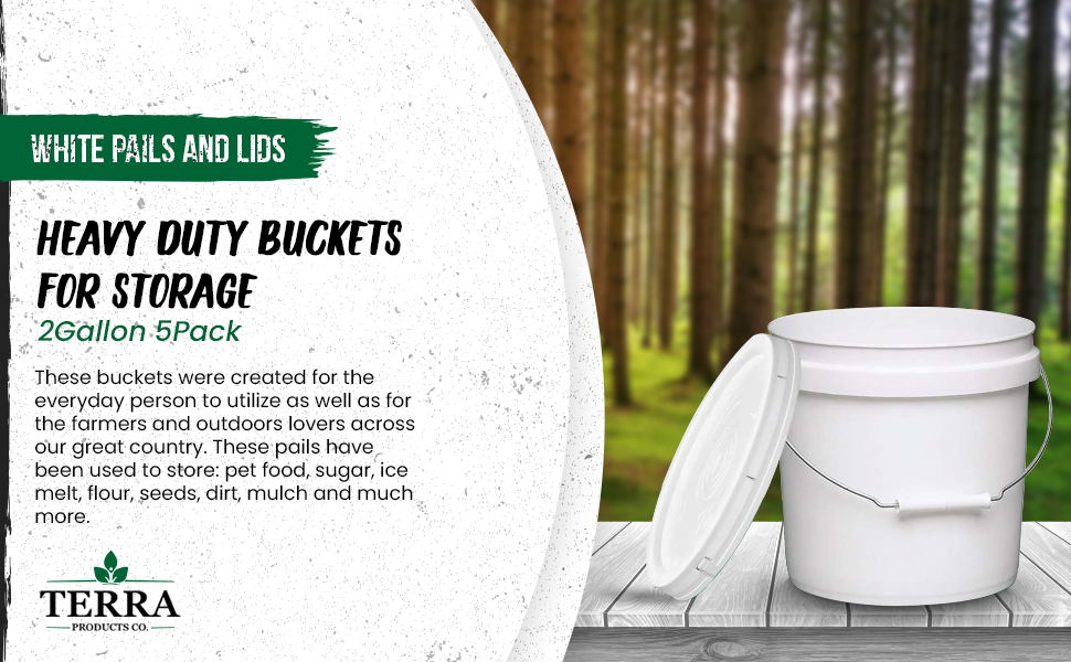 White Pails and Lids