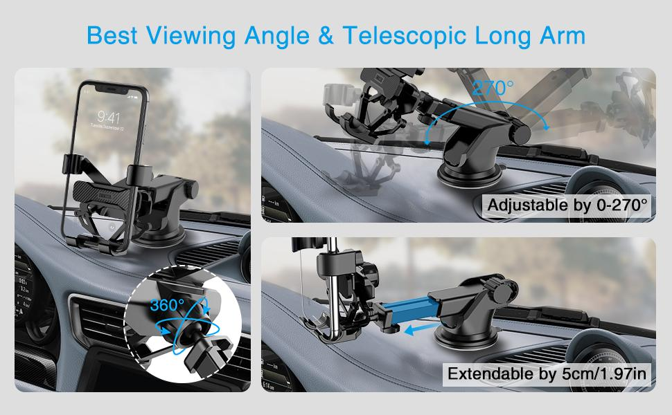 Telescopic long arm, extendable and adjustable