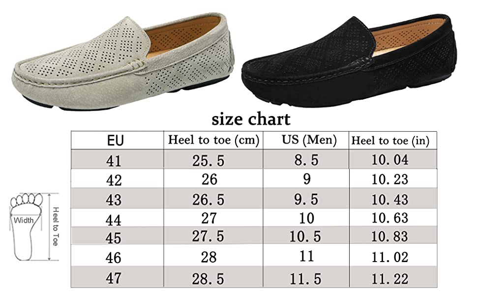 Size chart of slip-on loafers