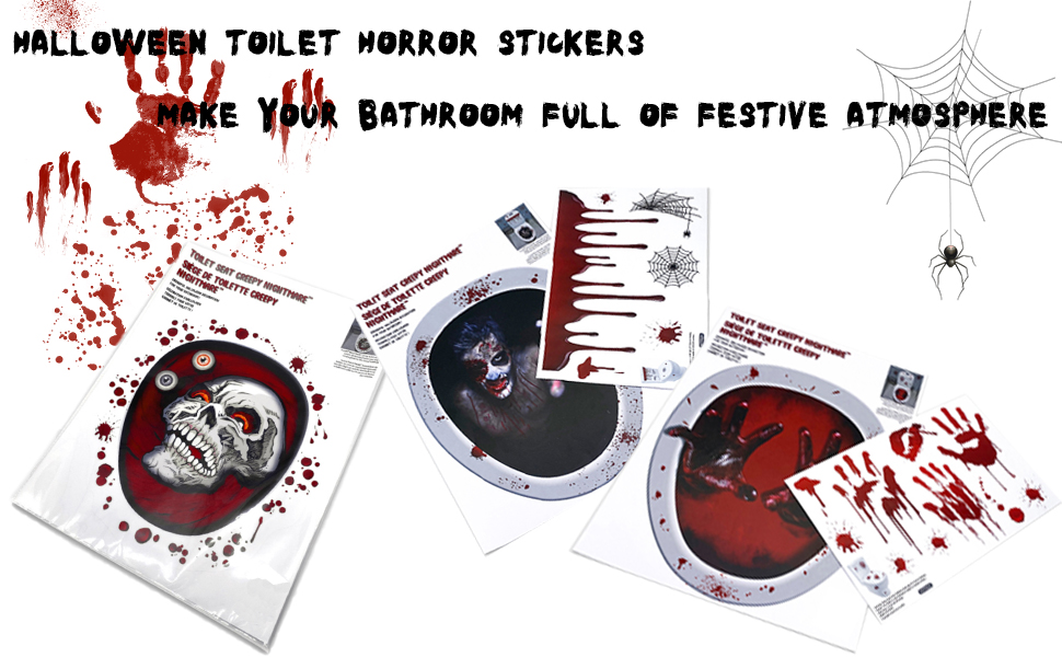 Halloween toilet horror stickers, make your bathroom full of festive atmosphere