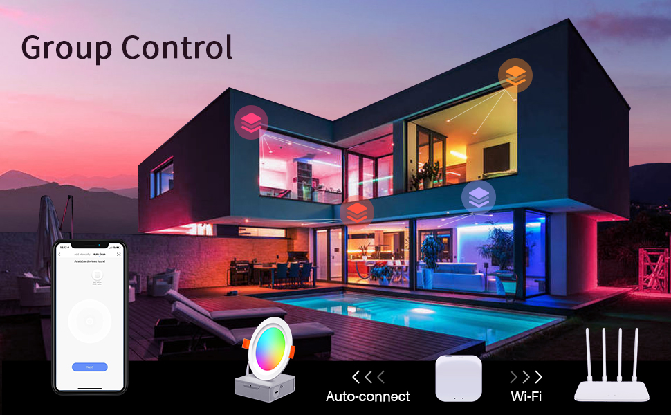 Smart recessed lightings support group control