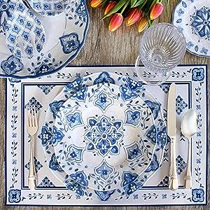 le cadeaux melamine dishes plastic moroccan blue blue white outdoor table setting entertaining