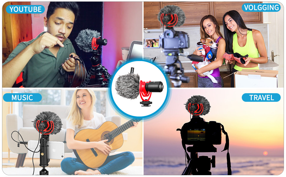 BOYA Super-Cardioid Shotgun Microphone, BY-MM1+ Mini Stereo Mic for IOS Android Smartphone Vlog, PC