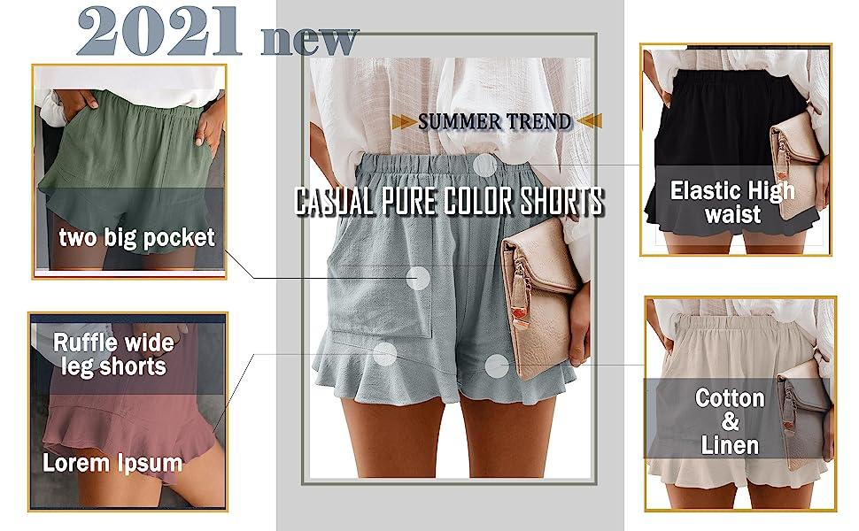 women ruffle wide leg plus size shorts high waisted pants loungewear summer outfits beach clothes