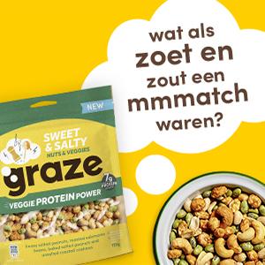 graze sweet & salty veggie protein power groentemix en notenmix, snack met peulvruchten