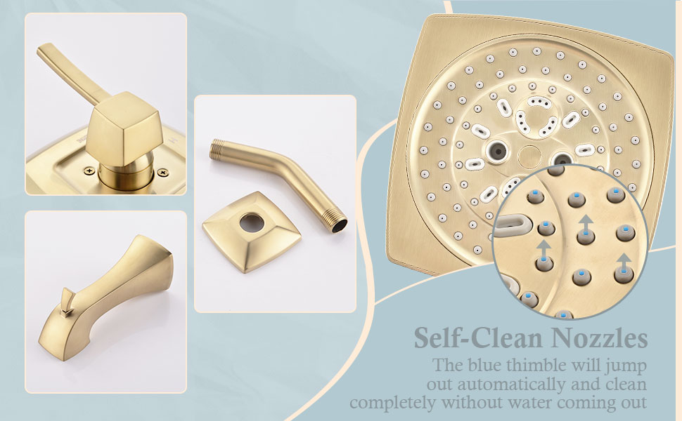 Gold  Tub Shower Faucet Complete Set with 7 setting showerhead